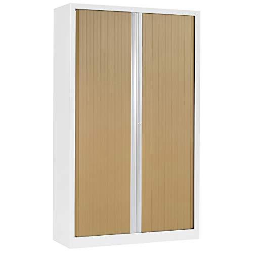 Armoire à rideaux ignifuge M2 | Blanc | Chêne Clair | HxLxP 1980 x 1200 x 430 | Pierre Henry -