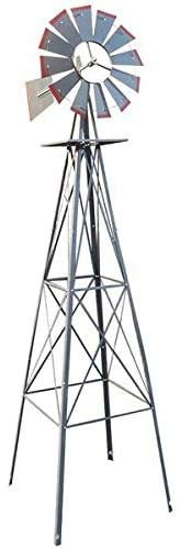 ARTETHYS 8FT Ornamental Wind Mill Yard Windmills with Red Tips Metal Windmill Weather Vane Weather Resistant (Silver)