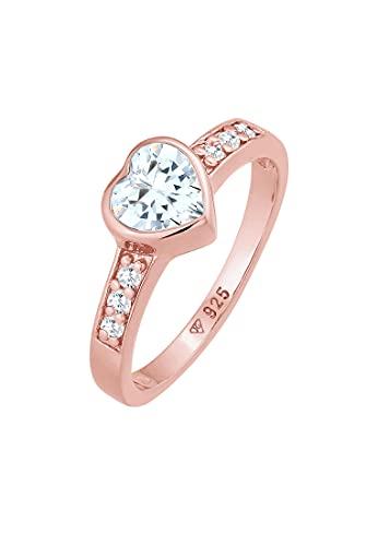 Elli Anillos para mujer con símbolo de corazón, anillo de compromiso, con cristales de circonita, en plata de ley 925