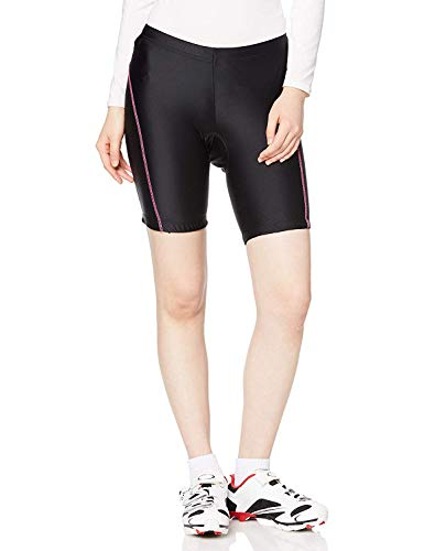 Wellcls レディース レーサーパンツ(ゲルパッド付き) 自転車 サイクリング (黒×ピンク, S(65-71cm))