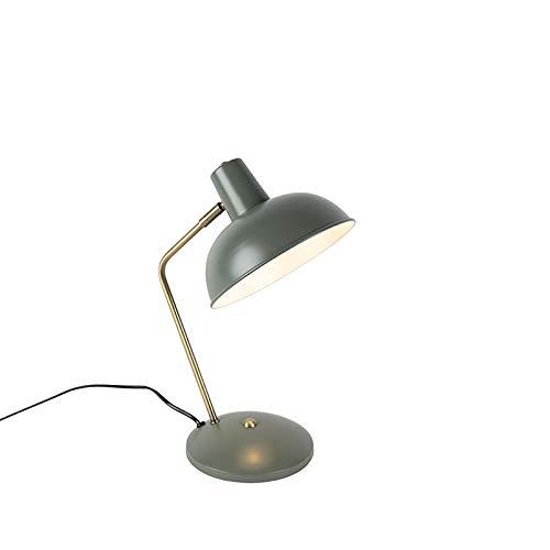 QAZQA Modern Retro Tischlampe grau mit Bronze - Milou/Innenbeleuchtung/Wohnzimmerlampe/Schlafzimmer Stahl Rund LED geeignet E14 Max. 1 x 40 Watt