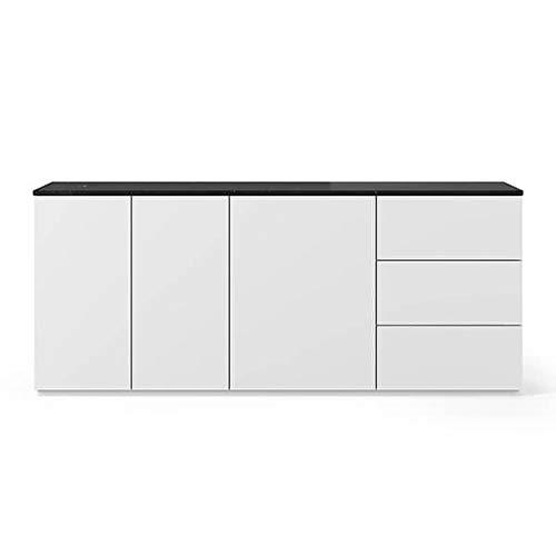 Buffets Design et élégants, Collection Join, signée TEMAHOME. - Join 200H1, Base Classique, Blanc Mat, Plateau en marbre Noir