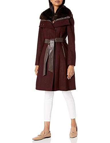 French Connection Women's Faux Fur Collar Detachable Bib Wool Coat, Red Wine, Large