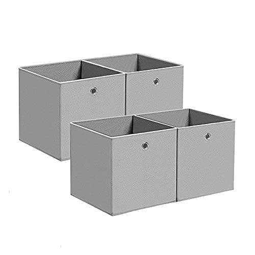 BALLSHOP 4 STK Faltbox Faltbare Aufbewahrungsbox Stoff Faltkiste mit Fingerloch 32 x 32 x 32 cm für Regale oder Raumteiler Lichtgrau