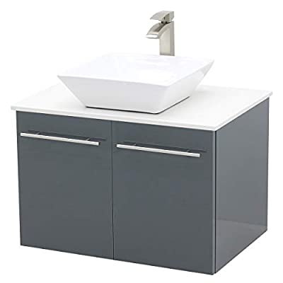 """WindBay Wall Mount Floating Bathroom Vanity Sink Set. High Gloss Dark Grey Vanity, White Flat Stone Countertop Ceramic Sink - 30"""""""
