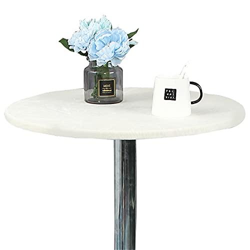 KFDZSW Paño De La Cubierta De La Redonda Se Ajusta A Las Mesas Redondas De Mantel Manteles Mesa Decorativo para Hogar Comedor del Cocina (Blanco,60cm)