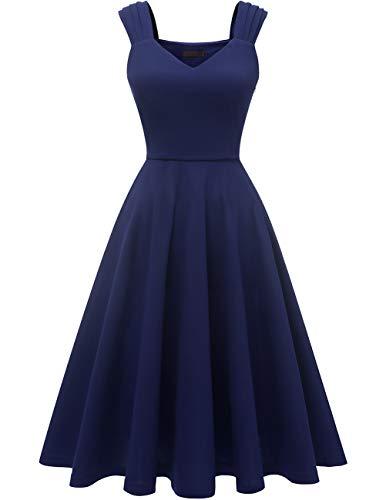 DRESSTELLS Damen 1950er Midi Rockabilly Kleid Vintage V-Ausschnitt Hochzeit Cocktailkleid Faltenrock Navy L