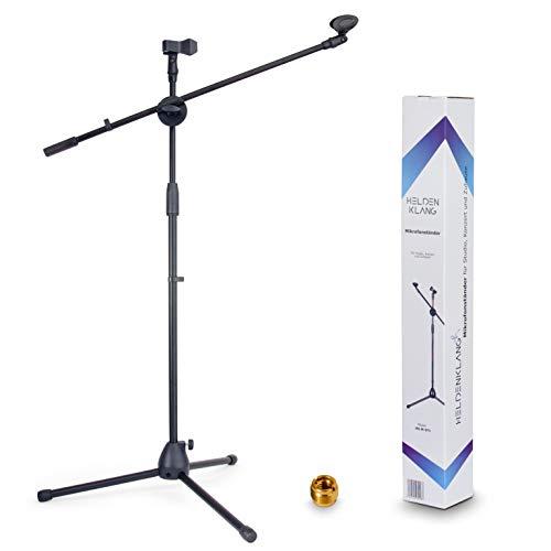 Heldenklang® Mikrofonständer für 2 Mikrofone – Mit Schwenkarm, 2 Mikrofonklemmen und Adapter – Extra großer Tripod Standfuß für einen stabilen Stand