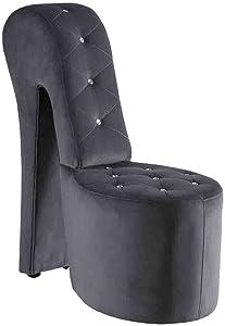 Best Master Furniture High Heel Velvet Shoe Chair with Crystal Studs, Grey