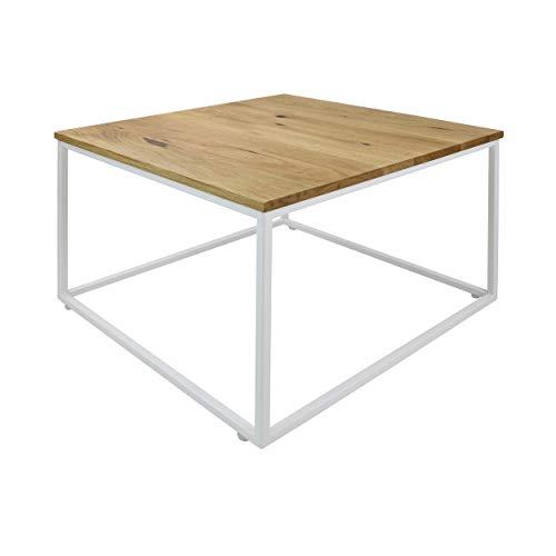 Natural Goods Berlin 1 x Mesa de café Cube   Mesa auxiliar de metal y madera   Sofá mesa de café moderna silla portátil cubo   Diseño industrial   Mesita de noche Loft (con tablero de roble, blanco)