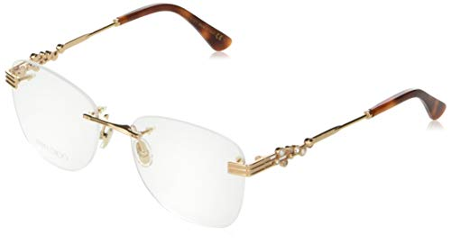 Jimmy Choo JC 214 06J Gold Havana Metal Rimless Eyeglasses 54mm