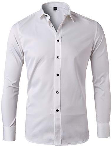 Men's Bamboo Fiber Dress Shirts Slim Fit Solid Long Sleeve Casual Button Down Shirts, Elastic Formal Shirts for Men,White Shirts,16.5″Neck 35″Sleeve