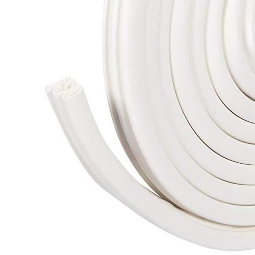 fowong Gummidichtung selbstklebend 15mm(B) x10mm (D) x6m(L), Silicon Dichtungsband für Türen Autotür Türdichtung Selbstklebende Dichtungsstreifen Kollisions- und Schalldämmung 工-förmig Weiß