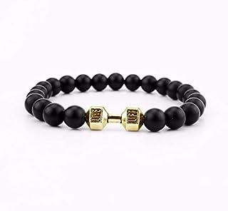 Black Matte Stone Beads Dumbbell Stretch Yoga Bracelet- Gold Dumbbell