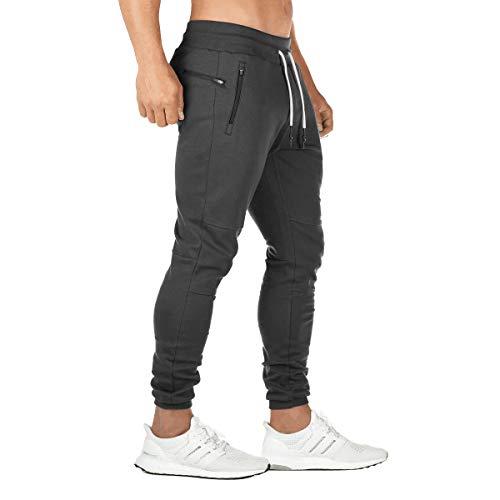 FEDTOSING Jogginghose Herren Fitness Spotshose Slim Fit Trainingshose Sweatpants Chino Baumwolle Taschen(DE194 Black M