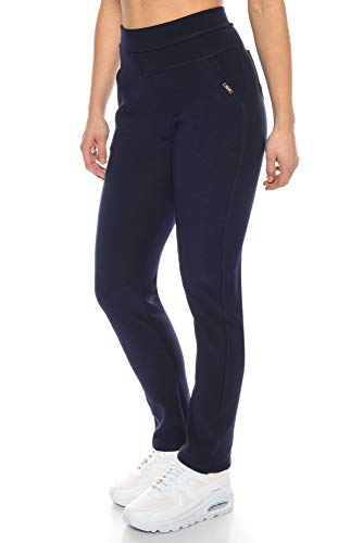 Kendindza Damen Thermo-Leggings gefüttert mit Innen-Fleece Basic Blickdicht (Blau   Muster 2, XXL)