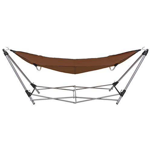 Festnight Hangmat met inklapbare standaard Draagbare opvouwbare hangmat lounge campingbed stalen frame beugel en luxe hangmat, geschikt voor buiten, tuin en terras bruin