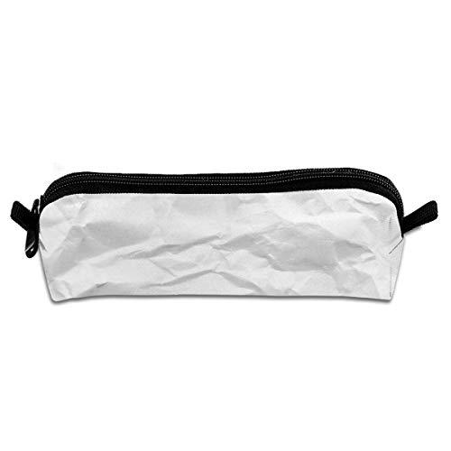 Weiß zerknittertes Papier Student Federmäppchen Federmäppchen Reißverschluss Schreibwaren Beutel kleine kosmetische Make-up Tasche für die Schule Arbeitsamt