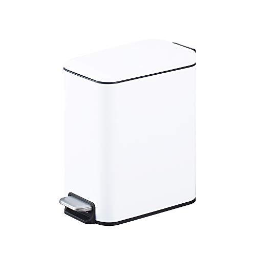 Smartbin 5L Rectangular Papelera con Tapa Silenciosa Cubo de Basura con Pedal Paso Cocina Basura Barurero Contenedor de Basura Papelera de Reciclaje Baño Cocina Oficina (Blanco)