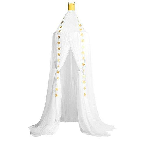 Hayandy Accesorios de Ropa de Cama Netificación de Cuna Elegante Princesa de Encaje Malla de Malla Redondo cúpula Cama Mosquito Ropa de Cama Carpa Estrellas Canopy-púrpura (Color : White)