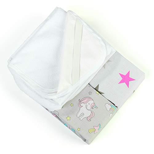 Lot de 2 draps-housse+1 alèse 100% coton oeko-tex pour berceau cododo Next2me, Lullago, Safety 1st (Licorne)