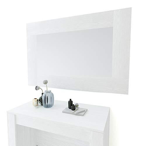 Specchio Rettangolare Da Parete Specchiera In Vetro Con Cornice In Legno Per Soggiorno Ingresso Salotto Sala Da Pranzo Studio Design Moderno Ed Elegante Tilcara 118 x 73 x 2 cm (Bianco Frassinato)