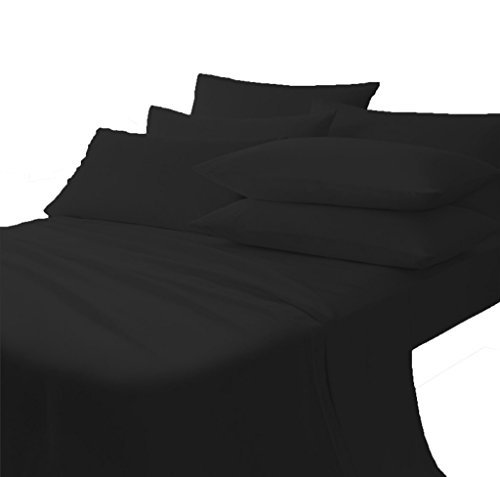 Scala Bedding 650 Thread Count 100% Egyptian Cotton Italian Finish Flat Sheet with Pillowcases California King Top Sheet Black