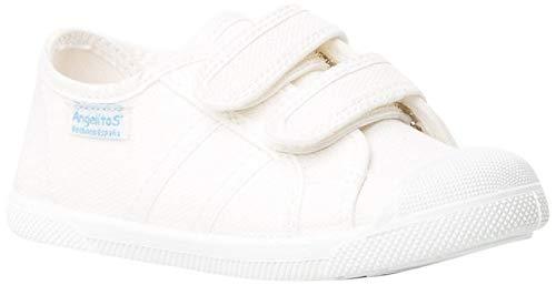 ANGELITOS Zapatillas de Lona Para Niños con Puntera Reforzada, Mod.128, Calzado infantil Made In Spain (27, Blanco)
