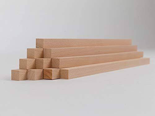 10er-Set Holzleiste - Buche gehobelt - 20/20/500 mm