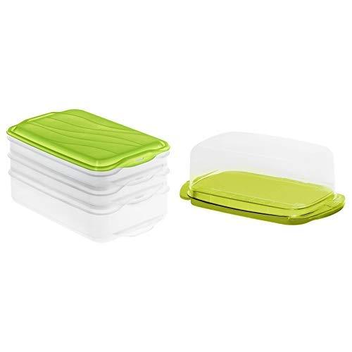 Rotho 1702805503 Stapelbox Rondo, 3-teilige Vorratsbox aus Kunststoff in transparent/grün, Inhalt 2 x 0,75 Liter,   & unststoff, transparent/limettengrün, 18 x 9.5 x 7 cm Butterdose