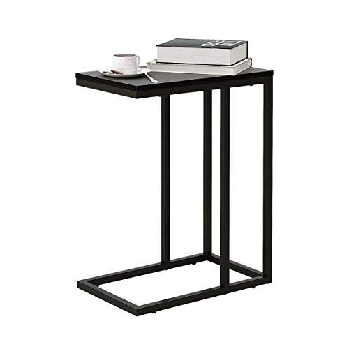 WLIVE Sofa Side End Laptop Table, C Shape Coffee Snack Table, Wooden Top, Black, 48cm L x 30cm W x 62cm H