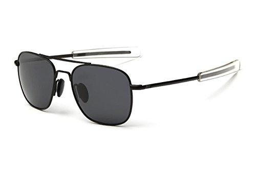 Keephen Nueva protección polarizada del marco de metal de las gafas de sol cuadradas del aviador retro UV400