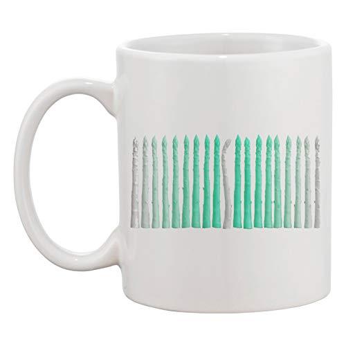 Artystyczny Szparag Linia Biały Kubek Ceramiczny Męski Damskie Kawy Herbaty Coffee Tea Cup Mug