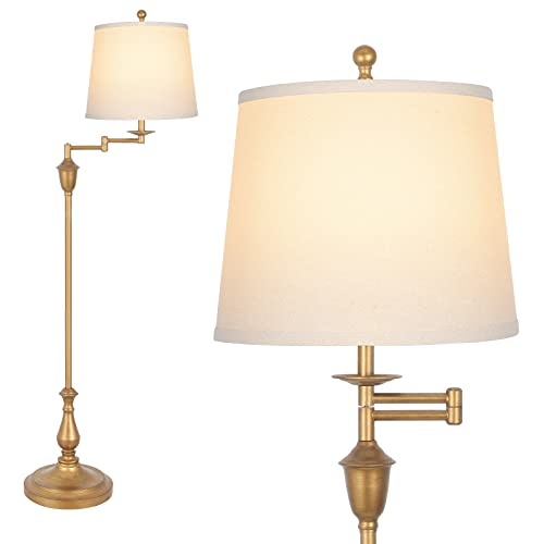 Hykolity Traditional Swing Arm Floor Lamp, Classic Lamp with Extending Arm, Soft Oatmeal Lamp Shade, Tall Floor Lamp for Living Room, Bedroom, Family Room, Office, Antique Brass