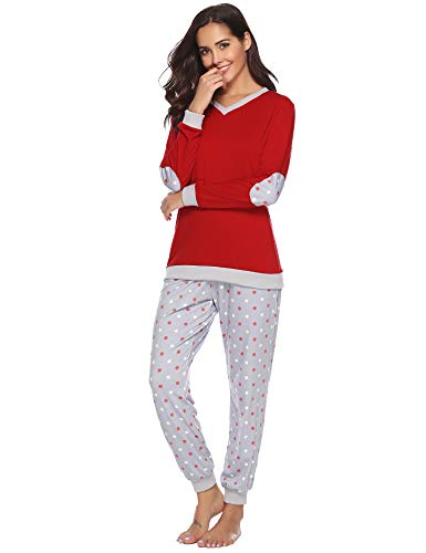 Hawiton Women Pyjamas Set Loungewear Full Length Top & Bottoms Sleepwear Cotton PJ's Set Jogging Style Nightwear Dark Red