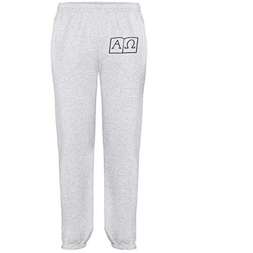 Extra Large 'Alpha & Omega Symbols' Grey Adult Joggers / Sweatpants / Bottoms (JO00004132)