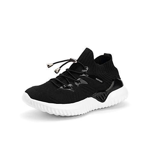 Scarpe da Ginnastica Corsa Bambini Running Sneakers Unisex Calzature Leggera Scuro Nero 33 EU
