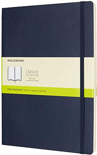 "Moleskine Classic Notebook, Soft Cover, XL (7.5"" x 9.5"") Plain/Blank, Sapphire Blue, 192 Pages"
