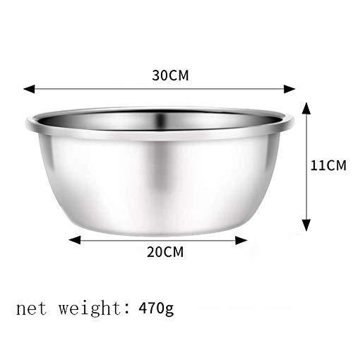 Bowl | roestvrijstalen kom |Roestvrijstalen kom Kitchen Bowl Colander voerbakset 304 Metal Bowl Anti-slip Base Kom En Noodle Bowl Soup Bowl (Maat: 30 cm) 8bayfa (Size : 30 cm)