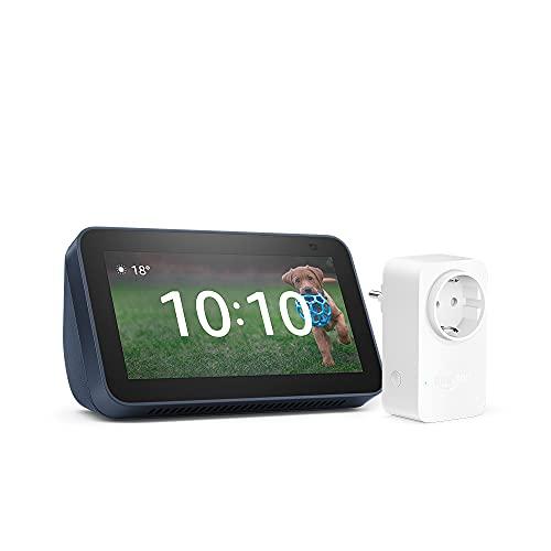Nuevo Echo Show 5 (2.ª generación, modelo de 2021), Azul + Amazon Smart Plug (enchufe inteligente WiFi), compatible con Alexa