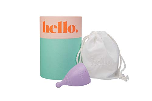 THE HELLO CUP Extra Small Menstrual Cup--FDA Registered, BPA Free, Reusable, Hypoallergenic, Recyclable, Medical Grade TPE, No Silicone/Rubber/Latex, Long Lasting, Smooth & Comfortable--XS Lilac, 1 ct