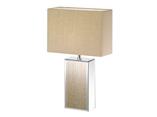 Rechthoekige honsel tafellamp BERT met LED, goud spiegel, stoffen kap linnen goudkleurig 30x13cm