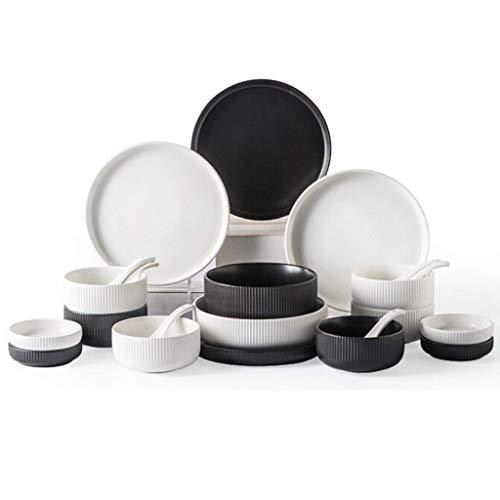 YLJYJ De Cena de cermica de Plato de Cena, 30 Piezas de vajilla de Porcelana de Relieve Tridimensional  Cuenco, Cuchara y Plato Aptos para microondas para