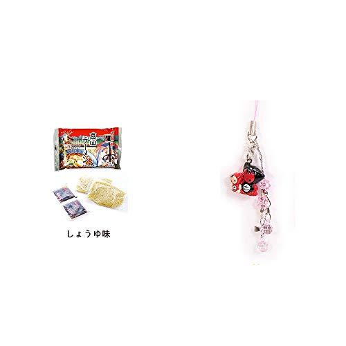 [2点セット] 飛騨高山ラーメン[生麺・スープ付 (しょうゆ味)]・さるぼぼペアビーズストラップ 【ピンク】/縁結び・魔除け//