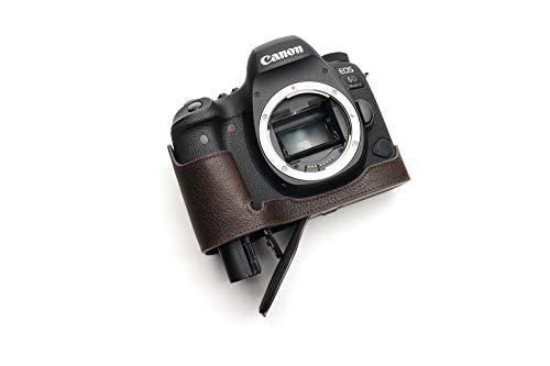 Canon キャノン EOS 6D Mark II 6D2 専用本革カメラケース バッテリー交換可能タイプ (底面開閉) (本革カメラケース バッテリー交換可能タイプ+ショルダーストラップTP15, 褐色)