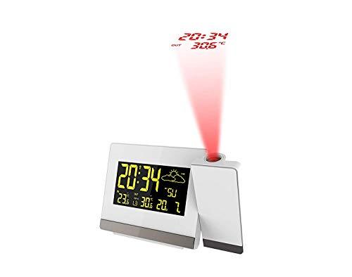 Technoline Funk-Projektionswecker WT 549, Innen- und Außentemperaturanzeige, Vorhersage von Wettersituationen und Wettertendenzanzeige (Weiss mit Batterien)