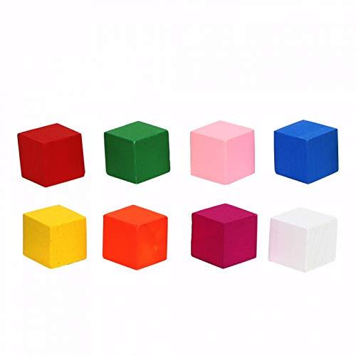 Lantuqib Bloque de Colores, práctico Juguete de Madera de Pino, Respetuoso con el Medio Ambiente, 2 Juegos para niños para niños, Juguetes de educación temprana(20mm25pcs, Blue)