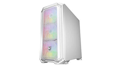 Nfortec Krater Mini Torre Gaming con illuminazione RGB Micro-ATX con frontale in rete con 4 ventole incluse - Colore bianco