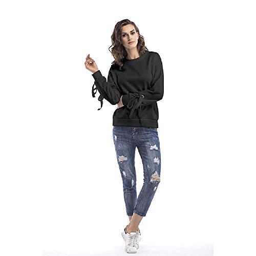 Primavera 2020 Nueva Manga Larga más suéter con Correa Aterciopelada Color sólido Top de Moda Femenina