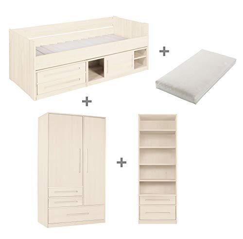 BioKinder Kinderzimmer complete set Lina met bed, garderobe en legbord inclusief oprolbare lattenbodem en matras van massief grenenhout in wit